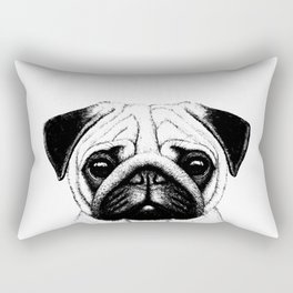 Black White Pug Pencil Sketch Rectangular Pillow