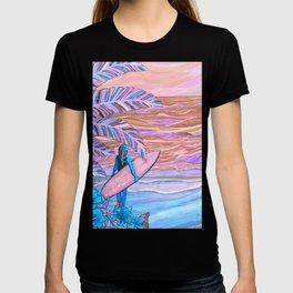 Hawaiian Coral And Teal Surfer Fine Art T-shirt