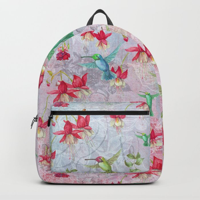 Vintage Watercolor hummingbird and Fuchsia Flowers on pink Background Backpack