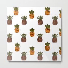pressed flower pineapple print Metal Print