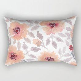 Watercolor . Salmon flowers . Rectangular Pillow