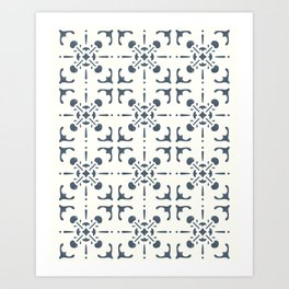 Vintage Hand-Drawn Tiles | Blue and Off White Modern Farmhouse Eclectic Art Print