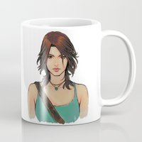 lara croft Mugs featuring Rise of Lara Croft by TholiaArt