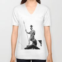dublin V-neck T-shirts featuring Guarding Dublin Castle by Biff Rendar