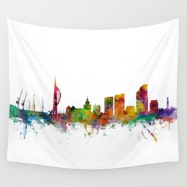 Portsmouth England Skyline Wall Tapestry