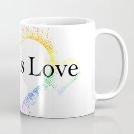 Splatter Paint Triple Hearts Love is Love Pride Rainbow Minimalist Art Coffee Mug