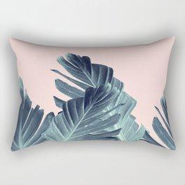 Blush Navy Blue Banana Leaves Dream #1 #tropical #decor #art #society6 Rectangular Pillow