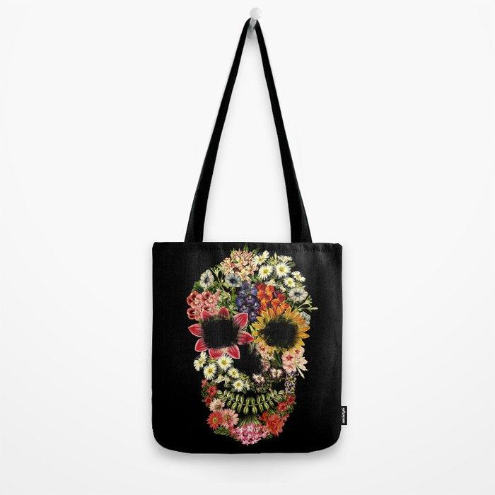 Floral Skull Vintage Black Tote Bag