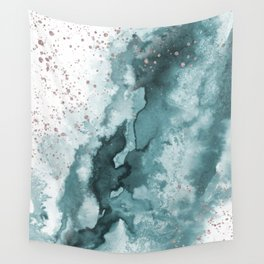 Watercolor meets Glitter - Turquoise Rose Gold - No 2 Wall Tapestry