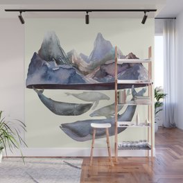 Mountains and Whales Wall Mural
