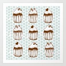 Retro Cupcakes Art Print