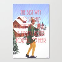 will ferrell Canvas Prints featuring Christmas Cheer / Elf by Earl of Grey