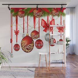 ORNATE HANGING RED CHISTMAS TREE DECORATIONS Wall Mural