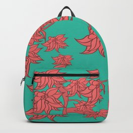 Salmon on Teal Backpack
