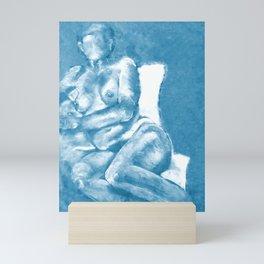 Lounging in Blue Mini Art Print