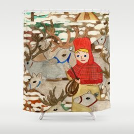 Reindeer Herding Shower Curtain