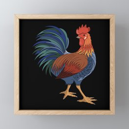 Rooster on Black Framed Mini Art Print