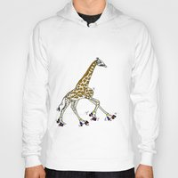 roller derby Hoodies featuring Giraffe Roller Derby by Twisted Tone