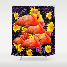 MODERN BLACK-YELLOW ART FLAMINGO  FLORAL ABSTRACT Shower Curtain