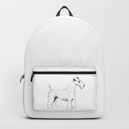 Wire Haired Fox Terrier Ink Drawing Backpack