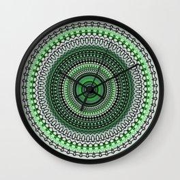 Bright Green Mandala Design Wall Clock
