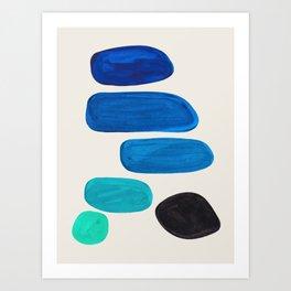 Mid Century Modern Retro Minimalist Colorful Shapes Phthalo Blue Marine Green Gradient Pebbles Art Print