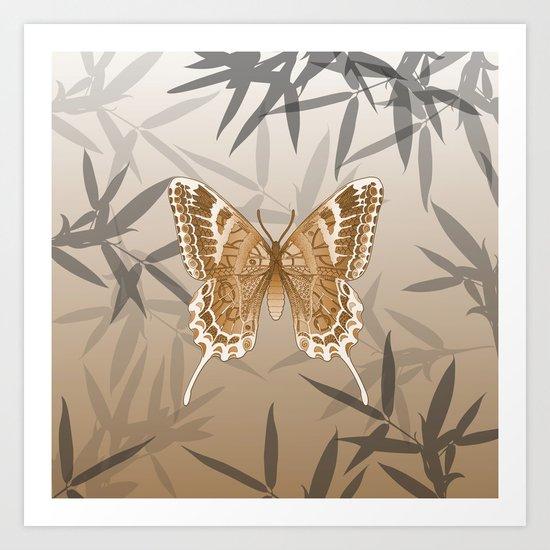 Beautiful Copper Butterfly Design Art Print
