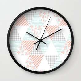 Trendy quilt pattern triangle quilt baby nursery gender neutral gifts for new baby room Wall Clock