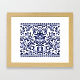 damask blue and white Framed Art Print