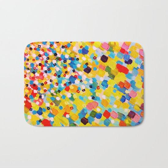 SWEPT AWAY 2 - Vibrant Colorful Rainbow Mango Yellow Waves Mermaid Splash Abstract Acrylic Painting Bath Mat