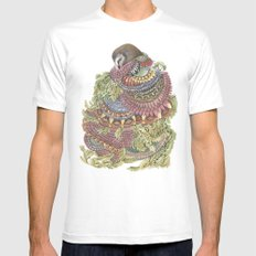 Quilted Forest: The Owl MEDIUM Mens Fitted Tee White