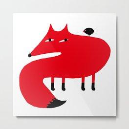 FOX AND BIRD. Metal Print