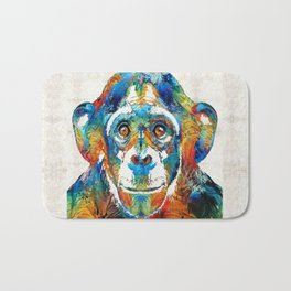 Colorful Chimp Art - Monkey Business - By Sharon Cummings Bath Mat
