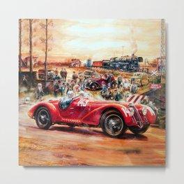 Retro racing car painting Metal Print