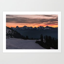Rising Sun in the Cascades - nature photography Art Print