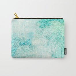 Green Flower Doodles Carry-All Pouch