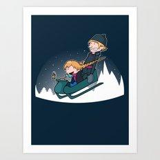 A Snowy Ride Art Print