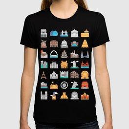 CUTE FAMOUS MONUMENTS PATTERN T-shirt