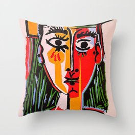 Head of a woman in a Hat Picasso Throw Pillow