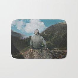 Man and the mountain Bath Mat