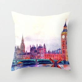 Sunset in London Throw Pillow