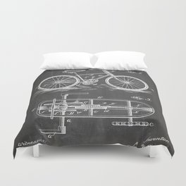 Bike Patent - Bicycle Art - Black Chalkboard Duvet Cover