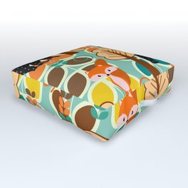 Magical forest with foxes and bears Outdoor Floor Cushion