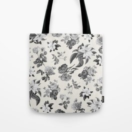 Vintage flowers on cream blackground Tote Bag