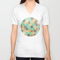 moroccan V-neck T-shirts featuring Charcoal, Mint, Wood & Gold Moroccan Pattern by micklyn