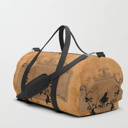 Music, piano with floral elements on vintage background Duffle Bag