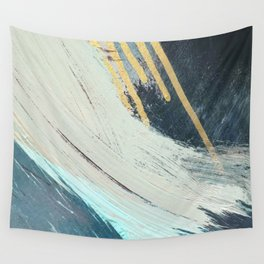 Karma: a bold abstract in blues and gold Wall Tapestry