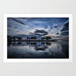 Beautiful blue skies and reflection Art Print