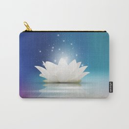 Elegant Gentle  White  Lotus / Lily flower Carry-All Pouch