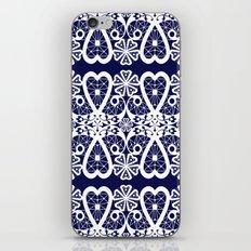 Retro . Lace blue white pattern . White lace on blue background . iPhone & iPod Skin